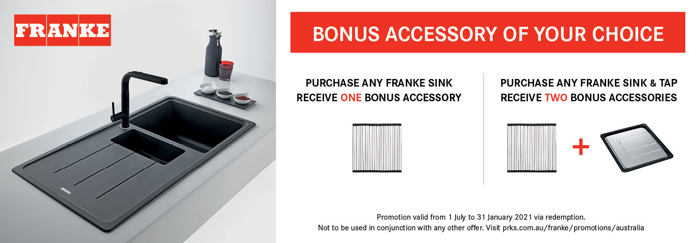Purchase any Franke sink, receive ONE bonus accessory