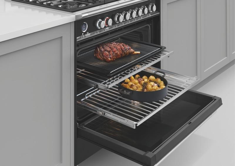 Fisher & Paykel 90cm Freestanding Dual Fuel Cooker - Black OR90SCG6B1