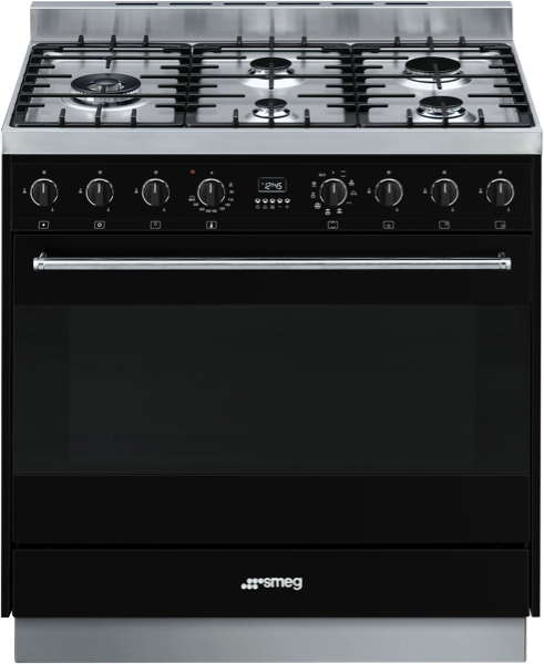 Smeg 90cm Freestanding Dual Fuel Cooker – Black CS95GMNNA1