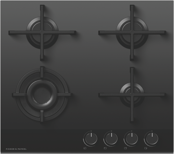 Fisher & Paykel 60cm Gas Cooktop - Black Glass CG604DNGGB4