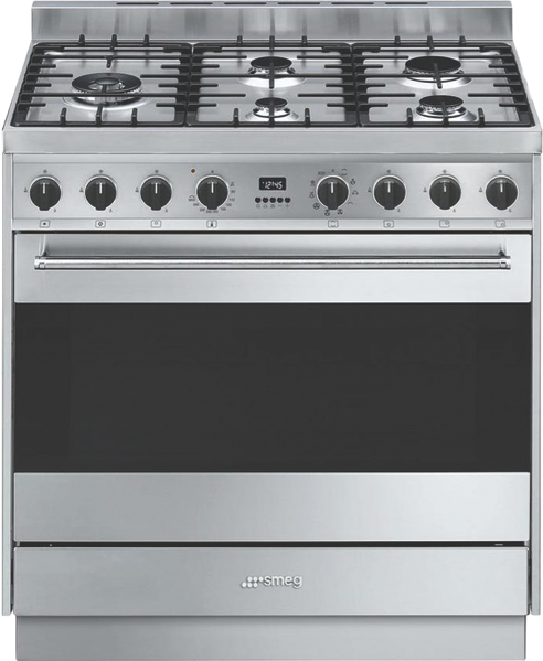 Smeg 90cm Dual Fuel Freestanding Cooker - Stainless Steel CS95GMXNA1