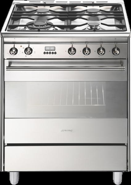Smeg 60cm Freestanding Dual Fuel Cooker - Stainless Steel FS61XNG8