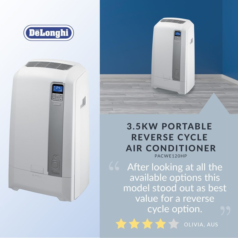 DeLonghi 3.5kw Portable Reverse Cycle Air Conditioner PACWE120HP