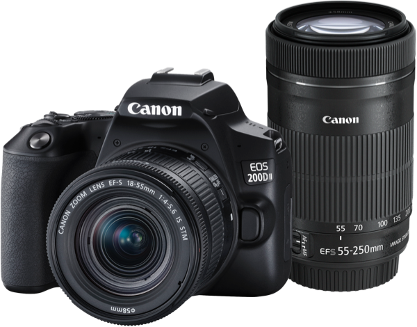 Canon EOS 200D Mark II Digital SLR Camera + 18-55mm STM IS & 55-250mm STM IS Lens Kit 200DIITKIS
