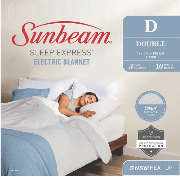 Sunbeam Sleep Express Boost Double Electric Blanket - White BLB4841
