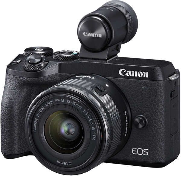Canon EOS M6 Mark II Mirrorless Camera + EF-M 15-45mm Lens + External Electronic Viewfinder M6IIKIS