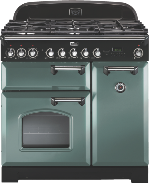 Falcon 90cm Freestanding Dual Fuel Cooker - Mineral Green & Chrome CDL90DFMGCH