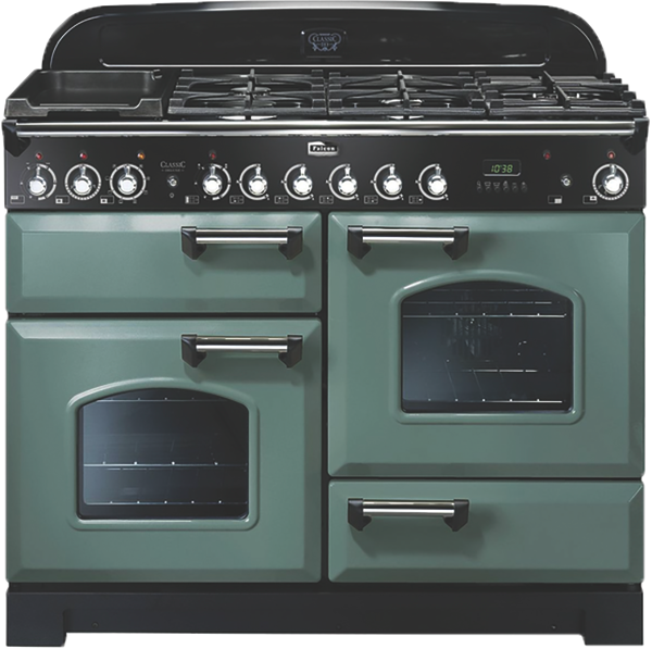 Falcon 110cm Freestanding Dual Fuel Cooker - Mineral Green & Chrome CDL110DFMGCH