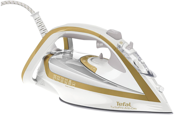 Tefal Turbo Pro Anti-Calc Steam Iron - White/Gold FV5646