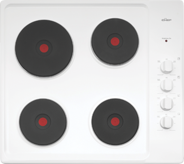 Chef 60cm Electric Cooktop - White Enamel CHS642WA